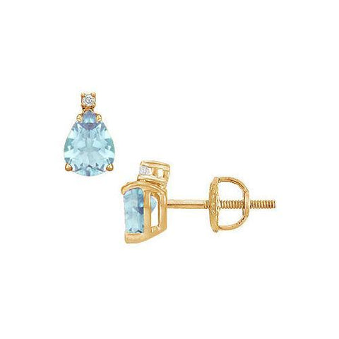 Diamond and Aquamarine Stud Earrings : 14K Yellow Gold - 2.04 CT TGW