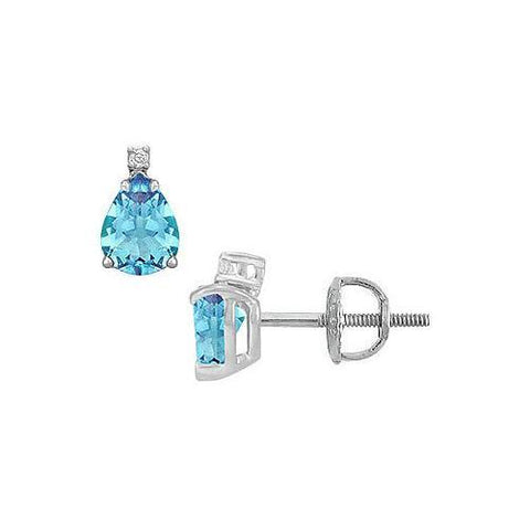 Diamond and Blue Topaz Stud Earrings : 14K White Gold - 2.04 CT TGW