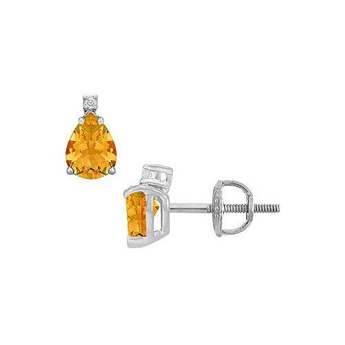 Diamond and Citrine Stud Earrings : 14K White Gold - 2.04 CT TGW