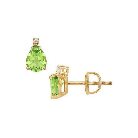 Diamond and Peridot Stud Earrings : 14K Yellow Gold - 2.04 CT TGW