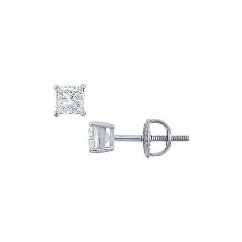 Platinum : Princess Cut Diamond Stud Earrings – 0.33 CT. TW.