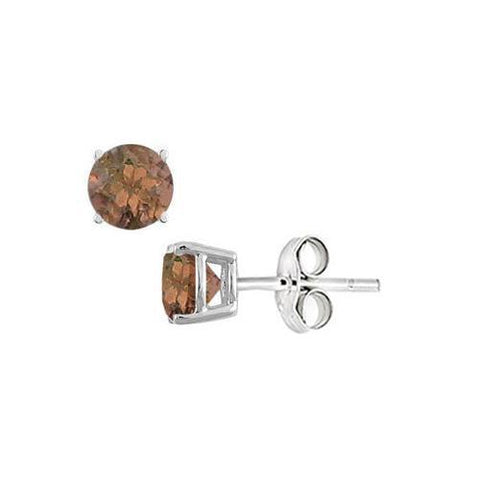 Smoky Topaz Stud Earrings in Sterling Silver 2.00 CT TGW