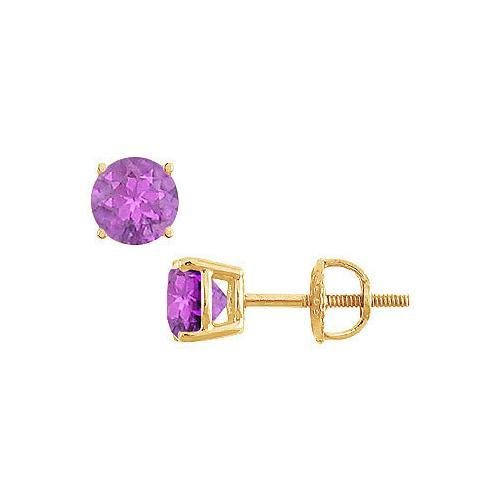 Amethyst Stud Earrings : 14K Yellow Gold - 2.00 CT TGW