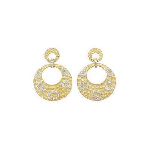 14K Yellow Gold Plated Sterling Silver with Cubic Zirconia Earrings