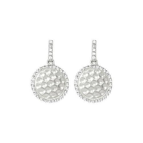 Cubic Zirconia and  Sterling Silver Rhodium Plated Push Back Earrings