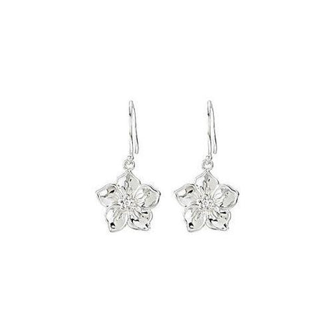 Forget me Not Pair Earrings : .925 Sterling Silver  - 0.02 CT Diamonds