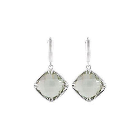 Sterling Silver Genuine Green Quartz Earrings - Pair 14.00 X 14.00 MM