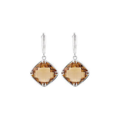 Sterling Silver Genuine Honey Quartz Earrings - Pair 14.00 X 14.00 MM