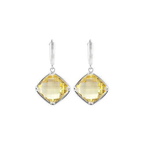 Sterling Silver Genuine Lemon Quartz Earrings - Pair 14.00 X 14.00 MM