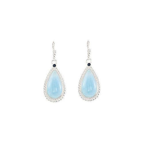 Sterling Silver Genuine Aquamarine & Blue Sapphire Earrings - Pair 21.00 X 11.00 MM