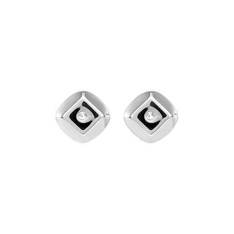 Diamond Earrings : 0.925 Sterling Silver - .015 CT TW