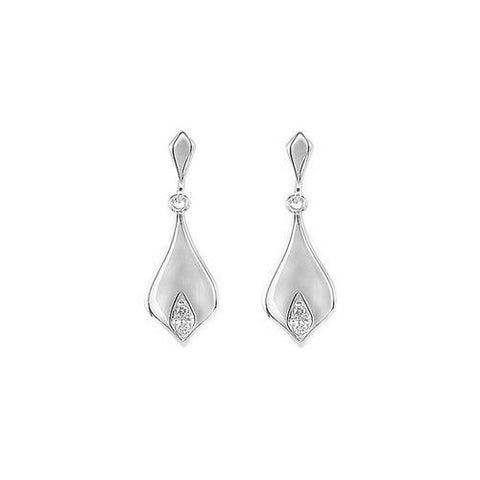 Diamond Earrings : .925 Sterling Silver -Pair 0.025 CT Diamonds