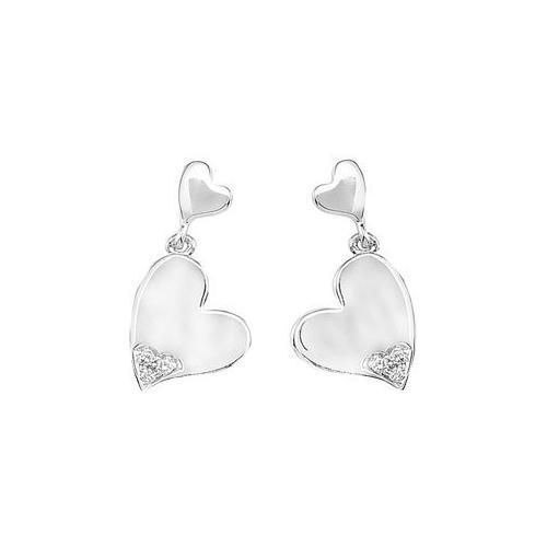 Diamond Double Heart Earrings : .925 Sterling Silver - Pair 0.04 CT Diamonds