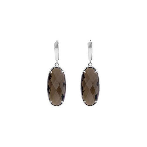 Sterling Silver Earrings for Large Oval Smoky Quartz - 25.00 X 10.00 MM