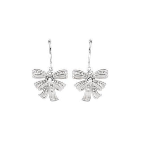 Sterling Silver Bow Design Dangle Earrings