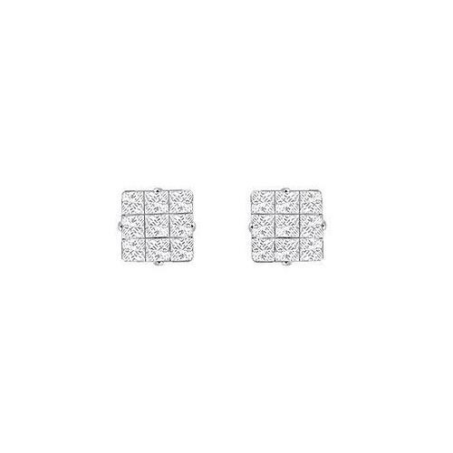 Cubic Zirconia 9 Cut Design Earrings : .925 Sterling Silver - 6 MM