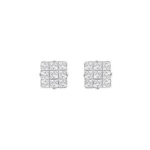 Cubic Zirconia 9 Cut Design Earrings : .925 Sterling Silver - 8 MM