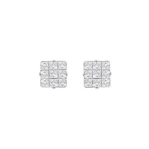 Cubic Zirconia 9 Cut Design Earrings : .925 Sterling Silver - 9 MM