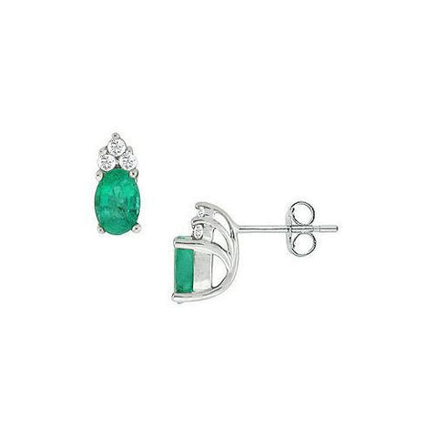 Emerald and Diamond Earrings : 14K White Gold - 0.75 CT TGW