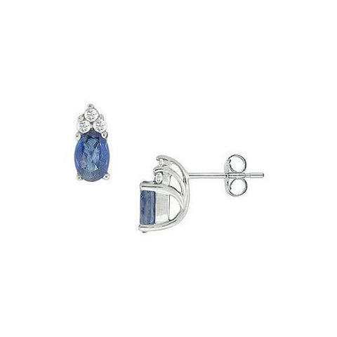 Blue Sapphire and Diamond Earrings : 14K White Gold - 1.00 CT TGW