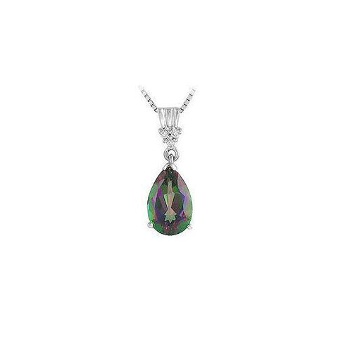 Mystic Topaz and Diamond Pendant : 14K White Gold - 2.00 CT TGW