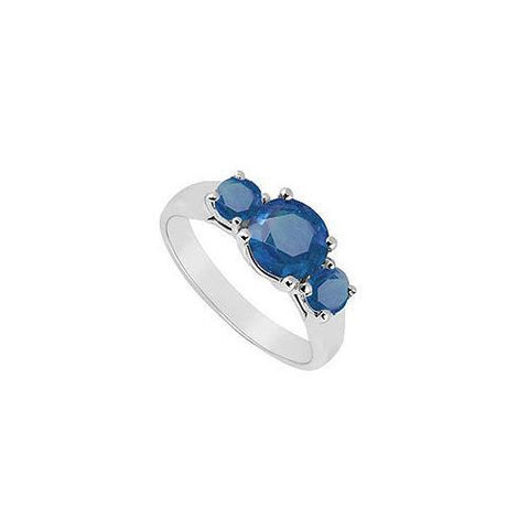 Three Stone Sapphire Ring : 14K White Gold - 0.75 CT TGW