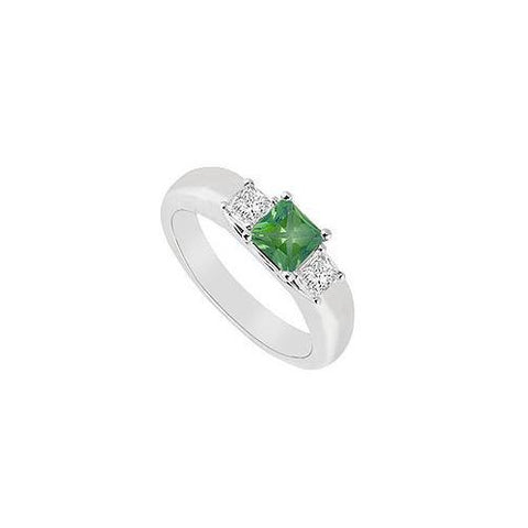 Three Stone Emerald and Diamond Ring : 14K White Gold - 0.25 CT TGW