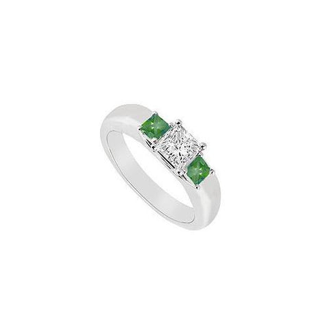 Three Stone Diamond and Emerald Ring : 14K White Gold - 0.25 CT TGW