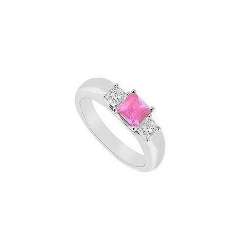 Three Stone Pink Sapphire and Diamond Ring : 14K White Gold - 0.25 CT TGW