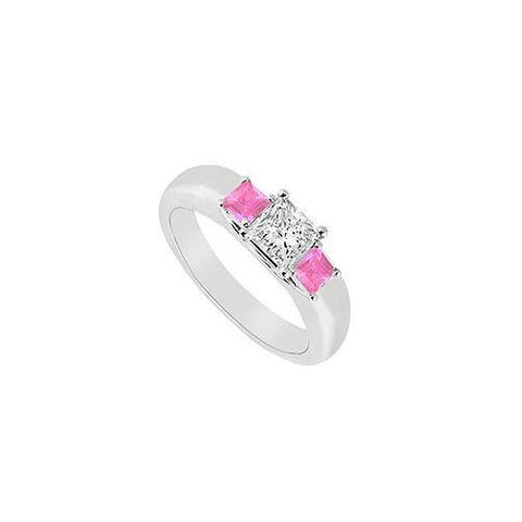 Three Stone Diamond and Pink Sapphire Ring : 14K White Gold - 0.25 CT TGW