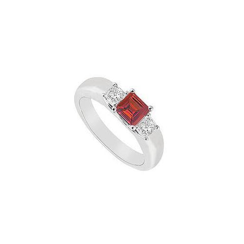 Three Stone Ruby and Diamond Ring : 14K White Gold - 0.25 CT TGW