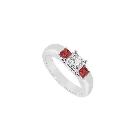Three Stone Diamond and Ruby Ring : 14K White Gold - 0.25 CT TGW