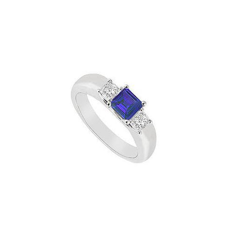 Three Stone Sapphire and Diamond Ring : 14K White Gold - 0.25 CT TGW