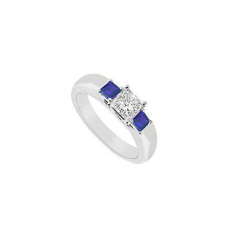 Three Stone Diamond and Sapphire Ring : 14K White Gold - 0.25 CT TGW