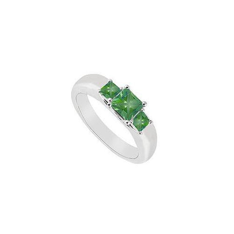 Three Stone Emerald Ring : 14K White Gold - 0.25 CT TGW