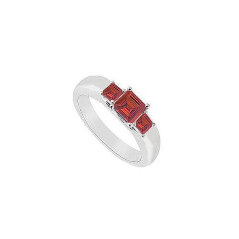 Three Stone Ruby Ring : 14K White Gold - 0.25 CT TGW