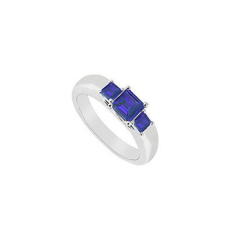 Three Stone Sapphire Ring : 14K White Gold - 0.25 CT TGW