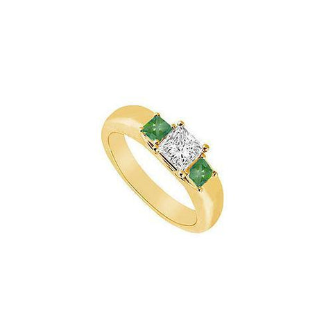 Three Stone Diamond and Emerald Ring : 14K Yellow Gold - 0.25 CT TGW