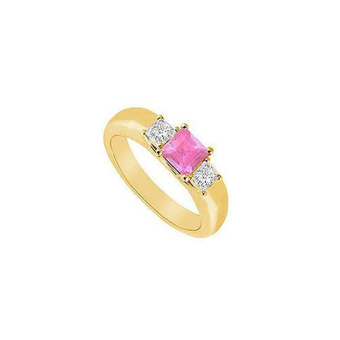 Three Stone Pink Sapphire and Diamond Ring : 14K Yellow Gold - 0.25 CT TGW