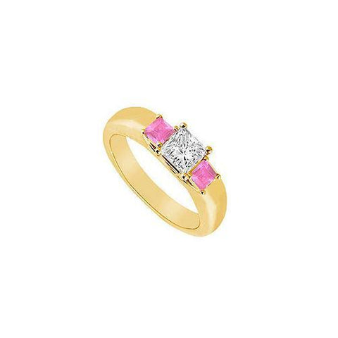 Three Stone Diamond and Pink Sapphire Ring : 14K Yellow Gold - 0.25 CT TGW