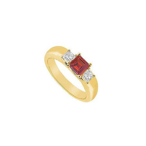 Three Stone Ruby and Diamond Ring : 14K Yellow Gold - 0.25 CT TGW