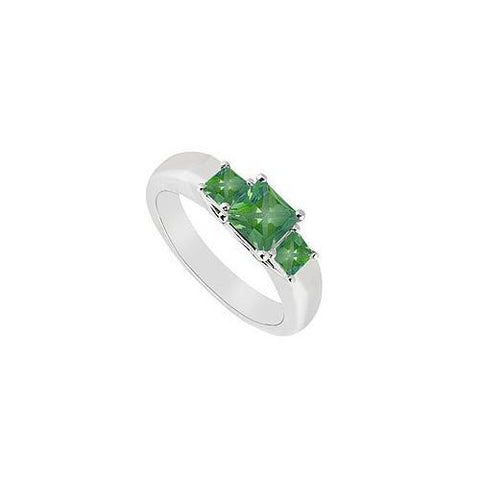 Three Stone Emerald Ring : 14K White Gold - 0.33 CT TGW