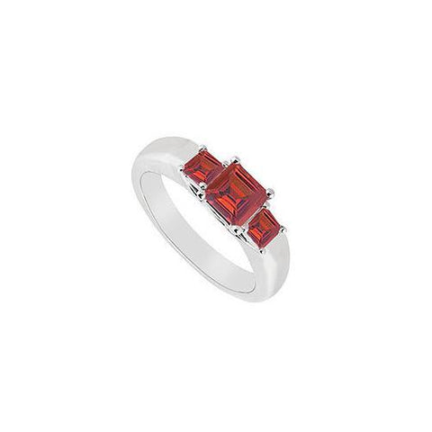 Three Stone Ruby Ring : 14K White Gold - 0.33 CT TGW