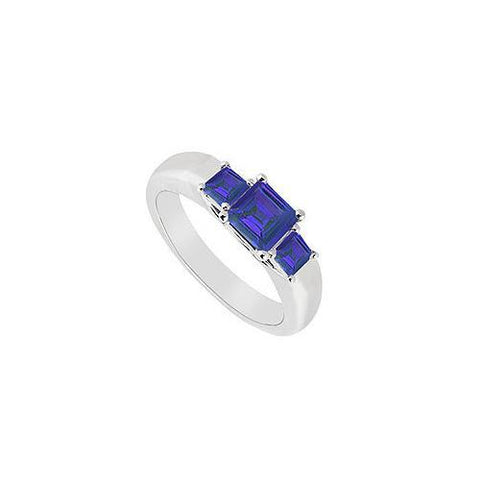 Three Stone Sapphire Ring : 14K White Gold - 0.33 CT TGW