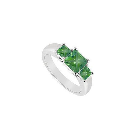 Three Stone Emerald Ring : 14K White Gold - 0.50 CT TGW