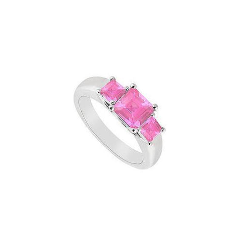 Three Stone Pink Sapphire Ring : 14K White Gold - 0.50 CT TGW