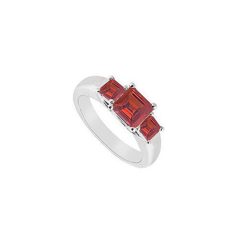 Three Stone Ruby Ring : 14K White Gold - 0.50 CT TGW