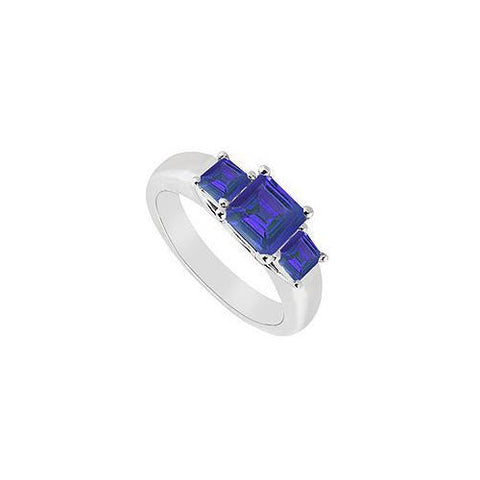 Three Stone Sapphire Ring : 14K White Gold - 0.50 CT TGW