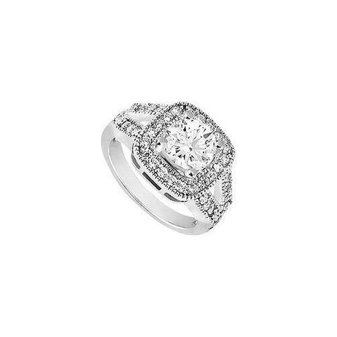 Cubic Zirconia Engagement Ring 10K White Gold 1.25 CT TGW