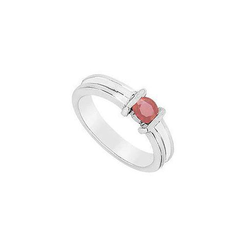Channel-set Ruby Ring : 14K White Gold - 0.25 CT TGW